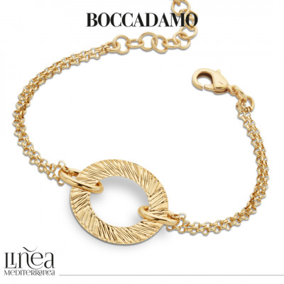 Yellow gold plated bracelet with circular decoration