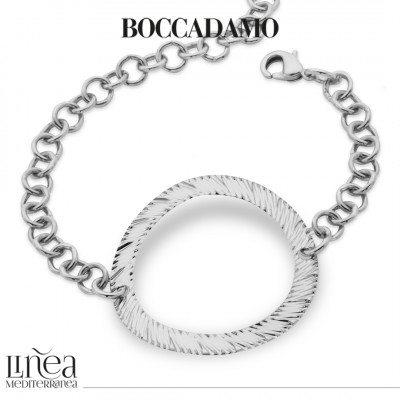 Rhodium-plated roll bracelet with central decoration