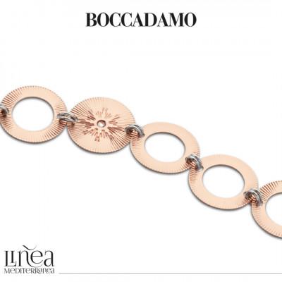 Two-tone bracelet with circular modules with Swarovski