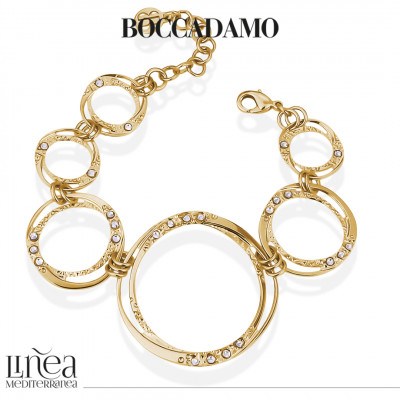 Yellow gold plated bracelet with circular degradation modules with Swarovski