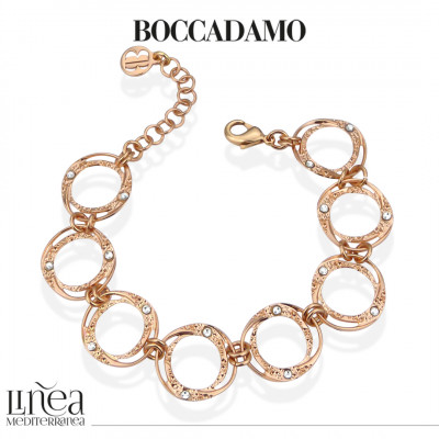 Rose gold plated bracelet with circular modules with Swarovski