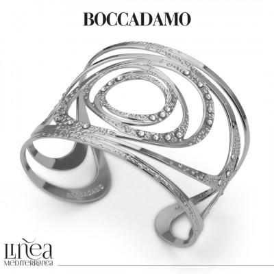 Band bracelet with circular decorations and Swarovski