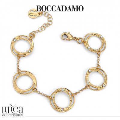 Yellow gold plated bracelet with small circular modules with Swarovski