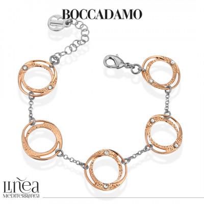 Two-tone bracelet with small circular modules with Swarovski