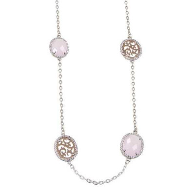 Long necklace with crystals briolette pink and zircons