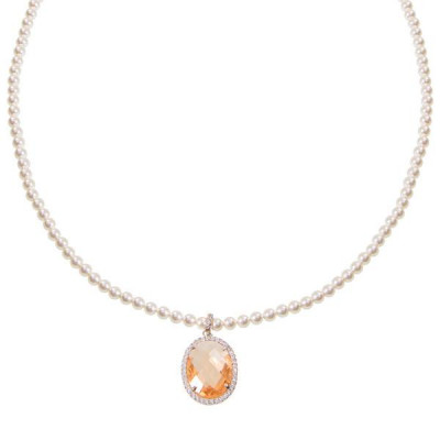 Pearl necklace Swarovski crystal with champagne and zircons
