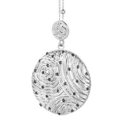 Necklace with circular pendant and points of light in glitter