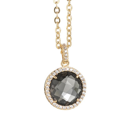 Necklace with crystal smoky quartz and pendant zircons