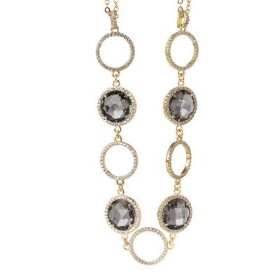 Necklace double wire with crystals smoky quartz and zircons