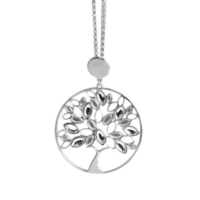 Necklace with tree of life pendant and Swarovski crystal