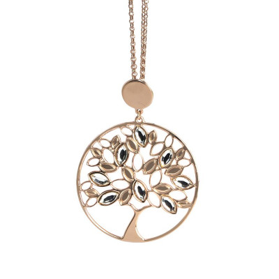 Pink necklace with tree of life pendant and Swarovski crystal