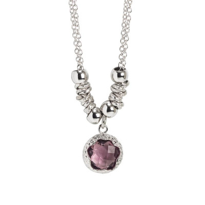 Necklace with faceted crystal amethyst
