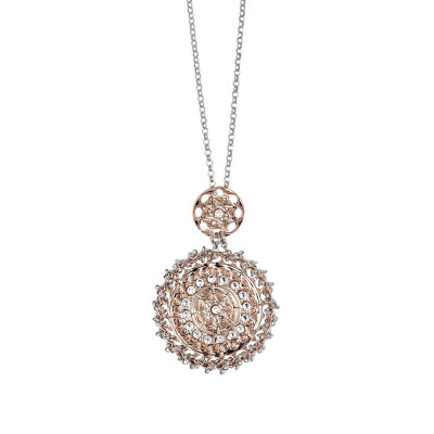 Necklace gold plated pink with Etruscan decoration in bas-relief and Swarovski