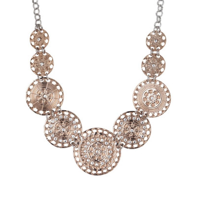 Short necklace gold plated pink with semi-rigid breastplate and Swarovski