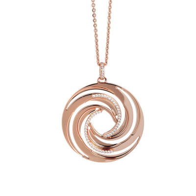 Necklace Pendant with gold plated pink from decoration with vortex and zircons