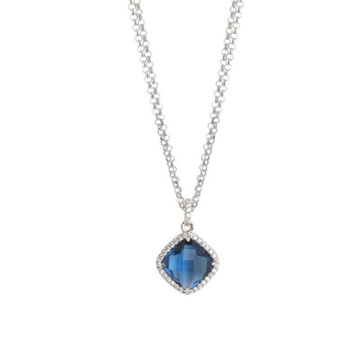 Necklace double wire with crystal blue montana and zircons