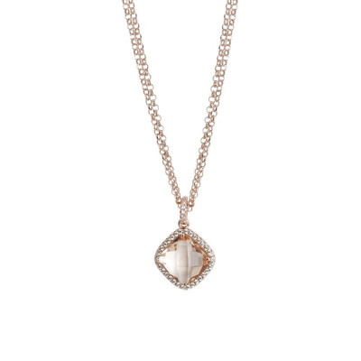 Necklace double wire with crystal peach and zircons