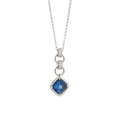 Necklace with pendant briolette crystal blue montana and zircons