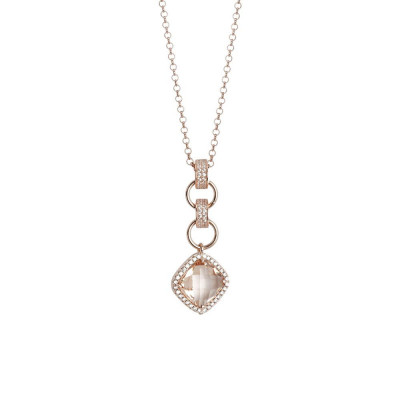 Necklace with pendant briolette crystal peach and zircons