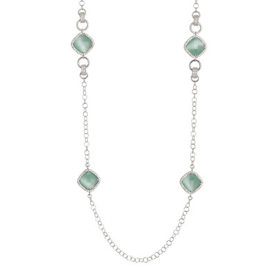 Long necklace with crystals briolette green mint and zircons