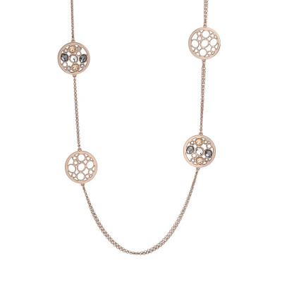 Long necklace double plated wire pink gold with decorations in Swarovski