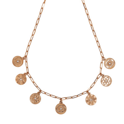 Rose gold plated necklace with charms and Swarovski