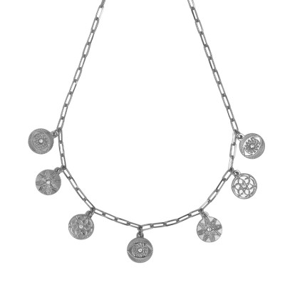 Rhodium-plated necklace with charms and Swarovski