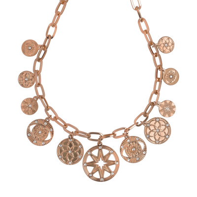 Rose gold plated rectangular links necklace with charms and Swarovski