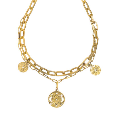Yellow gold plated double chain necklace with charm and Swarovski