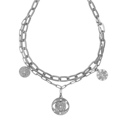 Rhodium-plated double chain necklace with charm and Swarovski