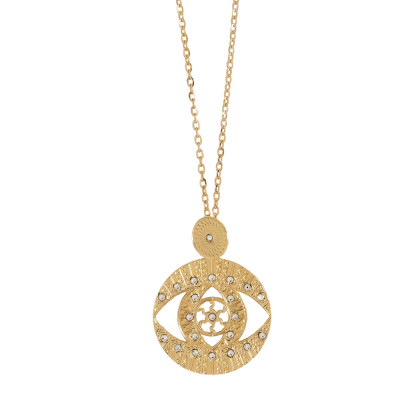 Yellow gold plated long necklace with pendant and Swarovski