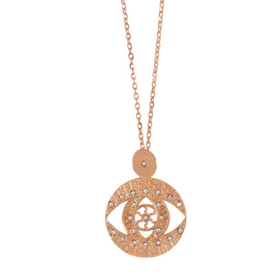 Long necklace rose gold plated with pendant and Swarovski