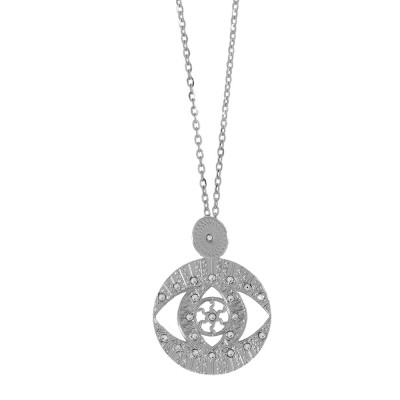 Long rhodium-plated necklace with pendant and Swarovski