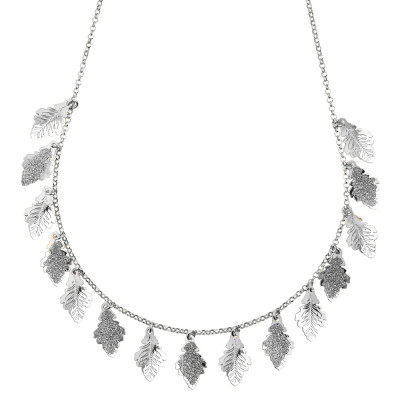 Rhodium-plated necklace with smooth and glittery leaves