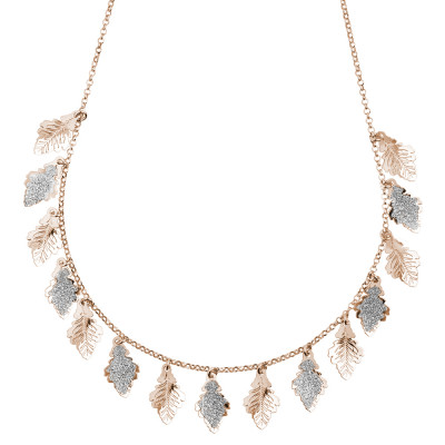 Rose gold plated necklace with smooth and glittery leaves