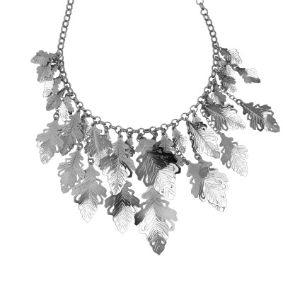 Rhodium-plated necklace with cotronate links and oak leaves