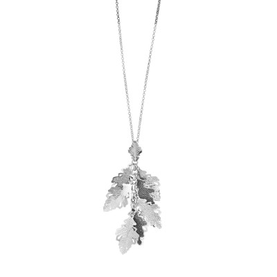 Rhodium-plated necklace with tuft of oak leaves