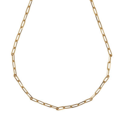 Yellow gold plated short necklace with small oval links
