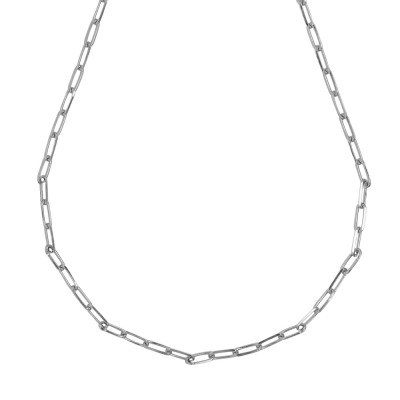 Rhodium-plated short necklace with small oval links