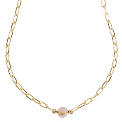 Chain necklace with rose quartz cabochon