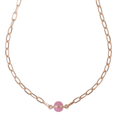 Chain necklace with fuchsia cabochon