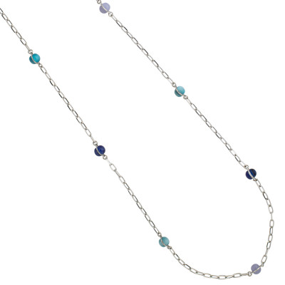 Long necklace with cabochons in shades of blue