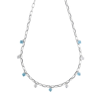 Chain necklace with Swarovski crystals aquamarine and crystal