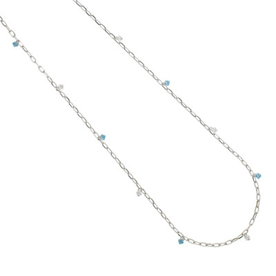 Long chain necklace with Swarovski crystal and aquamarine