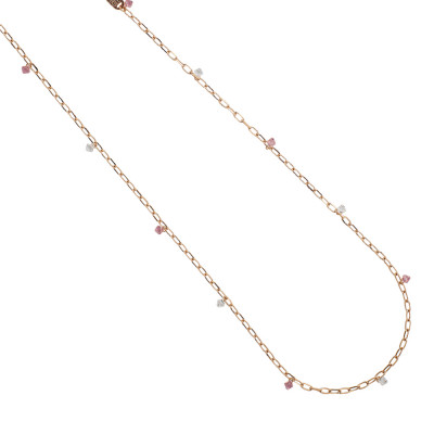 Long chain necklace with light rose and crystal Swarovski crystals