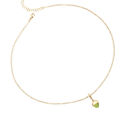Necklace with olivine-colored crystal pendant