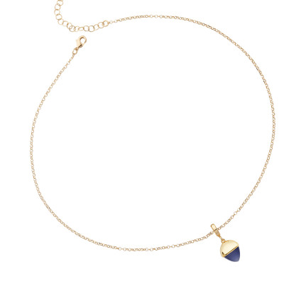 Necklace with tanzanite-colored crystal pendant