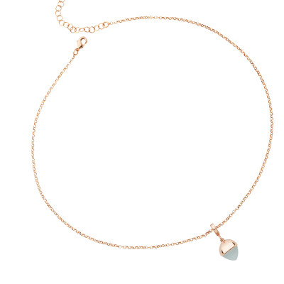 Rose gold plated necklace with aquamarine crystal