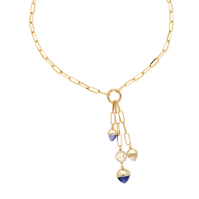 Y necklace with tanzanite colored pyramidal crystals and moonstone