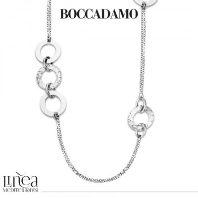 Long rhodium-plated necklace with circular decorations